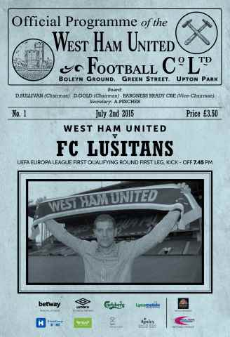 West Ham Utd Official Programmes issue LUSITANS UEL 1Q/1