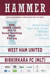 West Ham Utd Official Programmes issue BIRKIRKARA FC