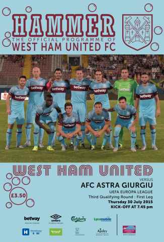 West Ham Utd Official Programmes issue FC ASTRA