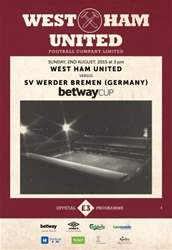 West Ham Utd Official Programmes issue WERDER BREMEN