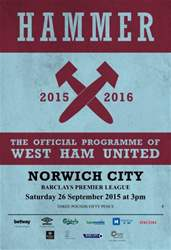 West Ham Utd Official Programmes issue NORWICH CITY  BPL