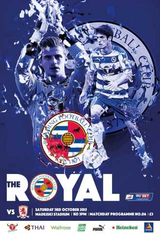 Reading FC Official Programmes issue 6 v Middlesbrough (14-15)