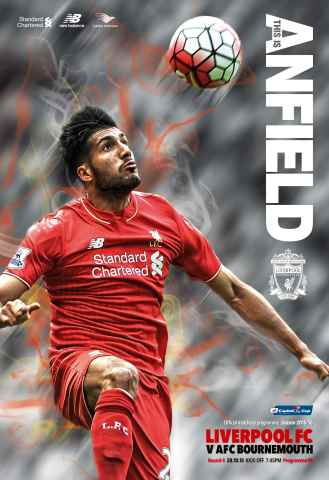 Liverpool FC Programmes issue Liverpool v  Bournemouth COC 2015/16