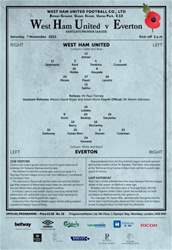 West Ham Utd Official Programmes issue EVERTON BPL