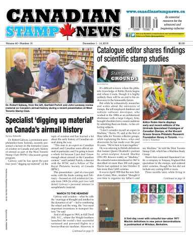 Canadian Stamp News issue V40#16 - December 1