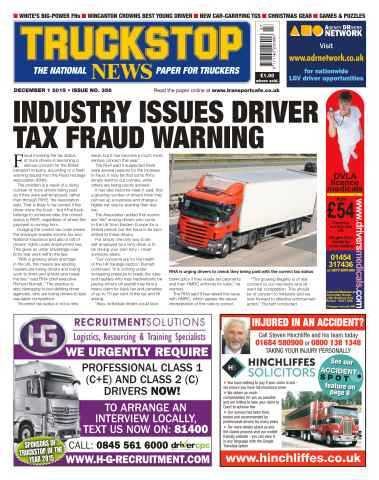 Truckstop News issue No. 356 Industry Issues Driver Tax Fraud Warning