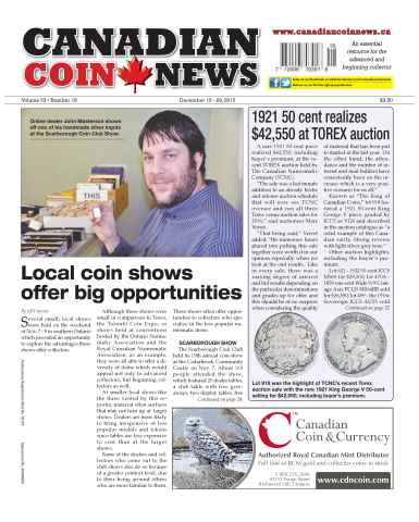 Canadian Coin News issue V53#18 - December 15