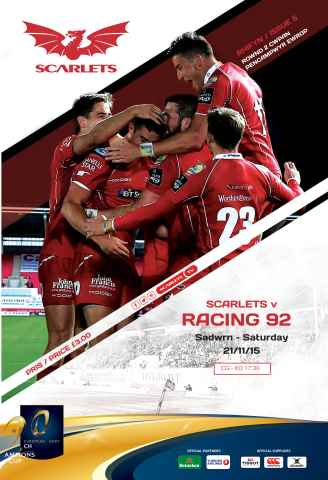 Scarlets Matchday Programme issue Racing 92 Nov15