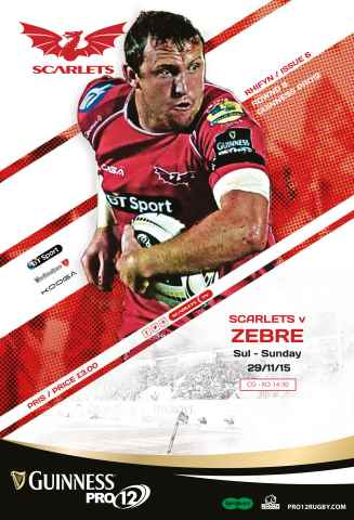 Scarlets Matchday Programme issue Zebre Nob15