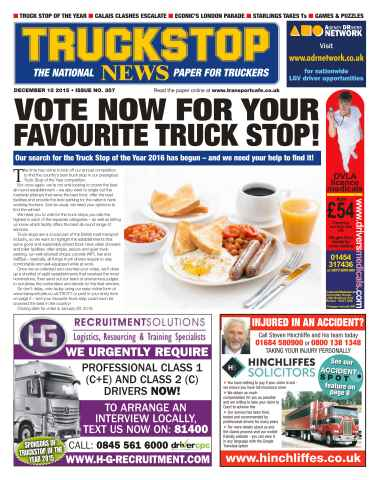 Truckstop News issue No. 357 Vote Now For Your Favourite Truck Stop!
