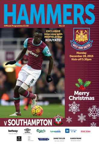 West Ham Utd Official Programmes issue SOUTHAMPTON  BPL