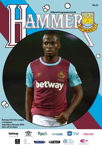 West Ham Utd Official Programmes issue LIVERPOOL  BPL