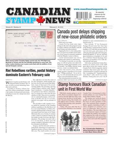 Canadian Stamp News issue V40#21 - February 9