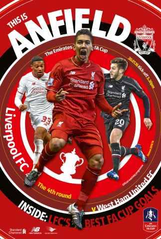 Liverpool FC Programmes issue Liverpool v West Ham United  FA CUP 201516