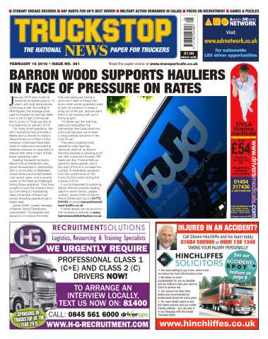 Truckstop News issue No. 361 Barron Wood Supports Hauliers In Face Of Pressure On Rates