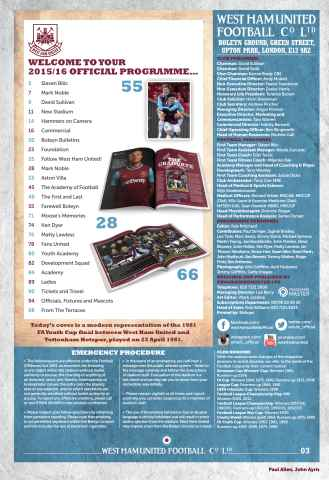 West Ham Utd Official Programmes Preview 3