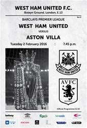 West Ham Utd Official Programmes issue ASTON VILLA  BPL