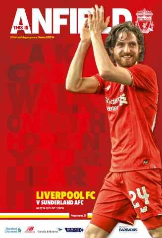 Liverpool FC Programmes issue Sunderland 201516