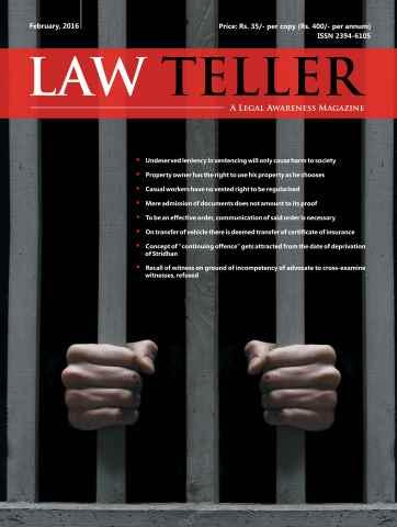 Lawteller – A Legal Awareness Magazine issue February 2016