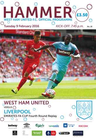 West Ham Utd Official Programmes issue LIVERPOOL FAC