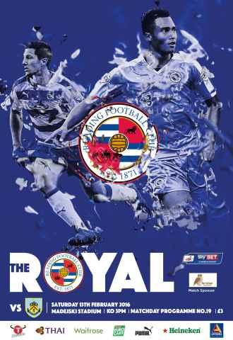 Reading FC Official Programmes issue 19 v Burnley (15-16)