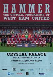West Ham Utd Official Programmes issue CRYSTAL PALACE  BPL