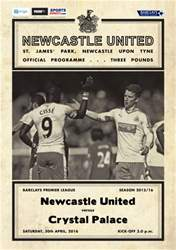 Newcastle United Programmes issue V Crystal Palace