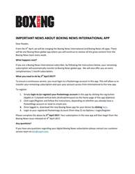 Boxing News International issue Boxing News International