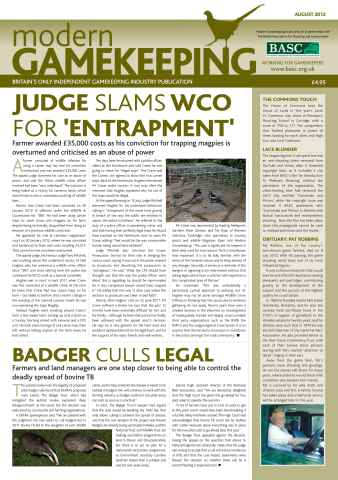 Modern Gamekeeping issue AUGUST 2012