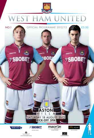 West Ham Utd Official Programmes issue West Ham United v Aston Villa