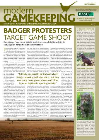 Modern Gamekeeping issue NOVEMBER 2012