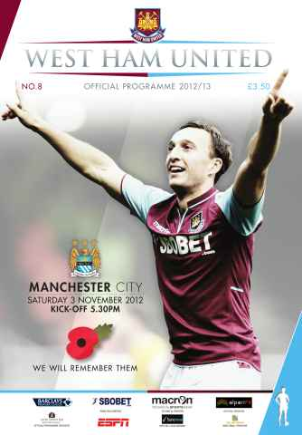 West Ham Utd Official Programmes issue West Ham United v Man City