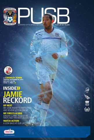 CCFC Official Programmes issue 11 v CRAWLEY TOWN (12-13)