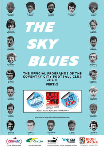 CCFC Official Programmes issue 21 V WATFORD (10-11)