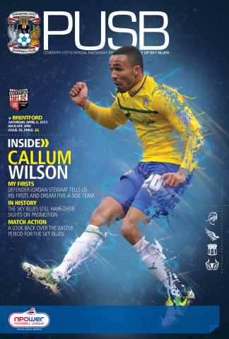 CCFC Official Programmes issue 29 v BRENTFORD (12-13)