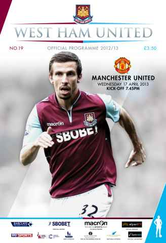 West Ham Utd Official Programmes issue WEST HAM UNITED V MAN UNITED