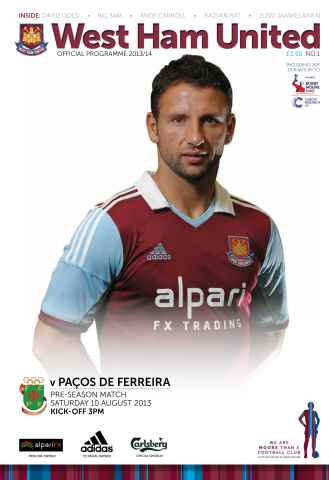 West Ham Utd Official Programmes issue WEST HAM UTD V PACOS DE FERREIRA
