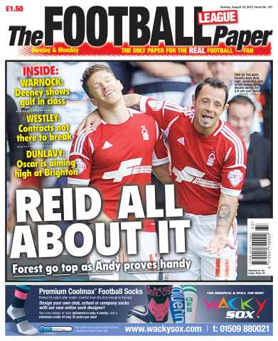 The Football League Paper issue Sunday 18th August 2013
