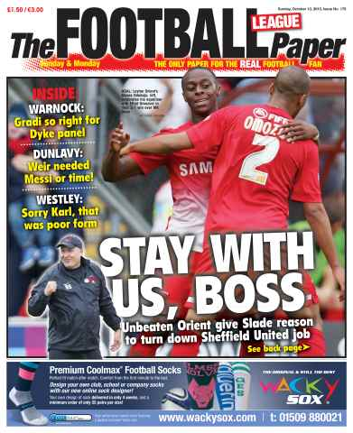 The Football League Paper issue Sunday 13th October 2013