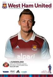 West Ham Utd Official Programmes issue WEST HAM UNITED V SUNDERLAND