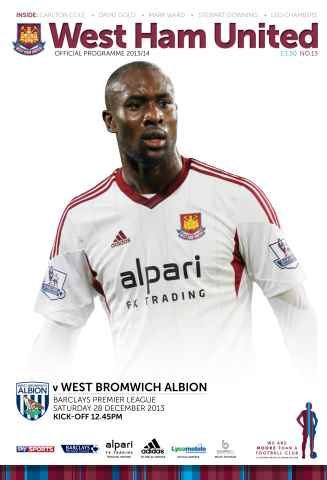 West Ham Utd Official Programmes issue WEST HAM UNTED V WBA