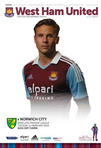 West Ham Utd Official Programmes issue WEST HAM UNITED V NORWICH CITY