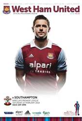 West Ham Utd Official Programmes issue WEST HAM UNITED V SOUTHAMPTON
