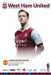 West Ham Utd Official Programmes issue West ham United v Manchester United