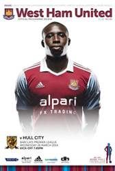 West Ham Utd Official Programmes issue WEST HAM UNITED V HULL CITY