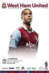 West Ham Utd Official Programmes issue WEST HAM UNITED V LIVERPOOL