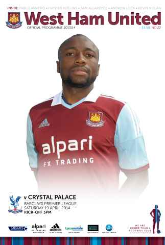 West Ham Utd Official Programmes issue West ham United v Crystal Palace