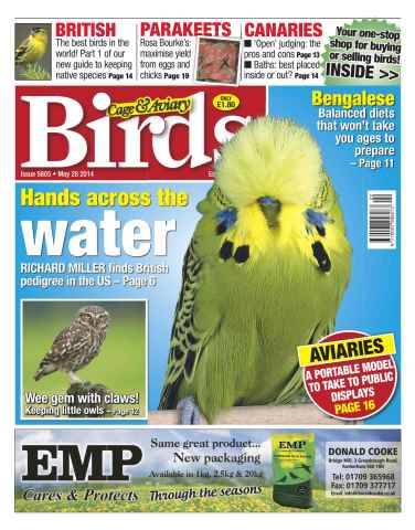 Cage & Aviary Birds issue No.5805 Hands Across the Water