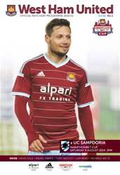 West Ham Utd Official Programmes issue V SAMPDORIA 2014/15