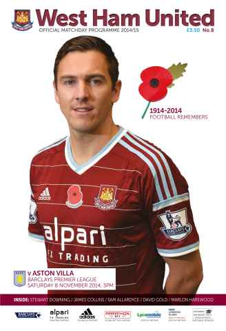 West Ham Utd Official Programmes issue v ASTON VILLA 2014/15